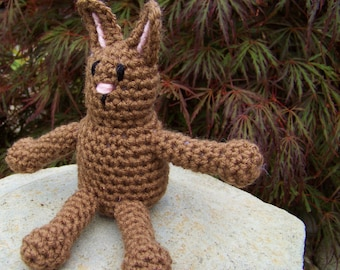 Bunny Rabbit Stuffed Children's Toy Crocheted Animal: Black, White, Grey, Light Brown, Dark Brown, or Chocolate Brown