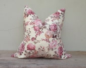 "Vintage pillow cover, pillow cover, Flora pink pillow cover 20"" x 20"""