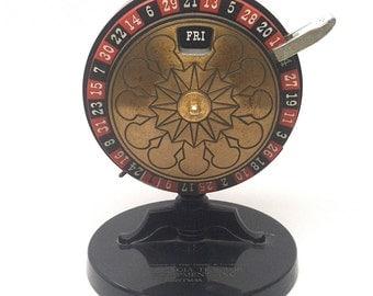 Roulette Wheel Desk Calendar Advertising c1960