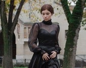 Evening black dress, vintage style black dress «Elvira» with lace and silk chiffon, couture