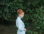 Evening dress «Aura». Beautiful linen dress vintage style, pale blue color/sky-blue color