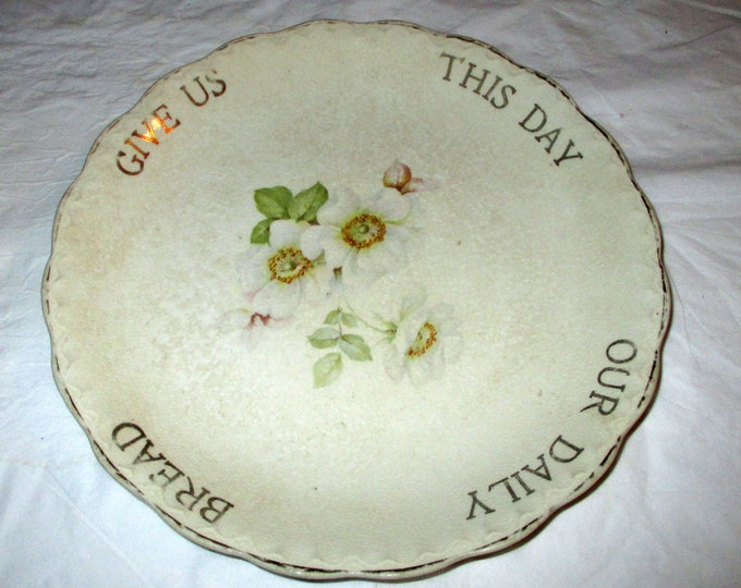 """DE McNicol Pottery Whiteware Plate """"Give Us This Day Our Daily Bread"""" White Roses, ca. 1905-1915"""