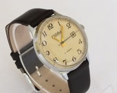 Rare men's watch SLAVA (GLORY) with date calendar vintage wrist watch 60s