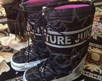 Juicy boots, Apres ski, after ski boots, snow boots,moon boots,  girls size, famous maker, barely worn, black and silver