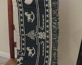 Goodwin Weavers  Est. 1812 Vintage Christmas Throw  Santa and his Sleigh-NEW Never used