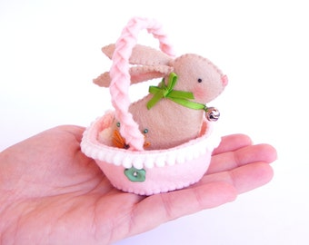 PDF pattern - Easter bunny in a basket - sewing pattern, DIY Easter decoration, felt softie with embroidered details