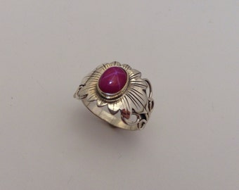 sterling silver star ruby flower ring