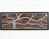Wood wall art made of old barnwood and steel. Different Sizes Available