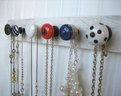 Jewelry Display in Red and Blue / Necklace Rack / Jewelry Organizer