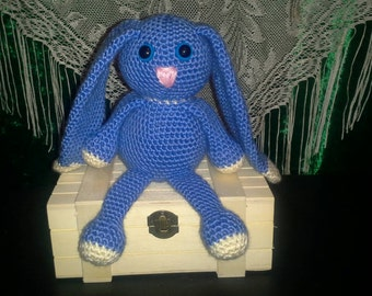 Crocheted Bunny - Blue with White Accents