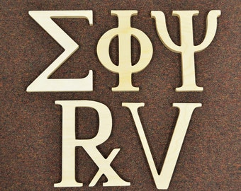 8 inch greek wooden letters unfinished alpha omega delta epsilon theta beta sigma