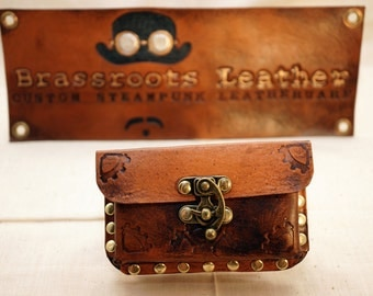 Steampunk Inspired Leather Business Card Case