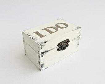 FREE SHIPPING, Wedding antique white ring bearer box / pillow, Wooden ring box, Pillow alternative, Wedding keepsake box, Memory card box