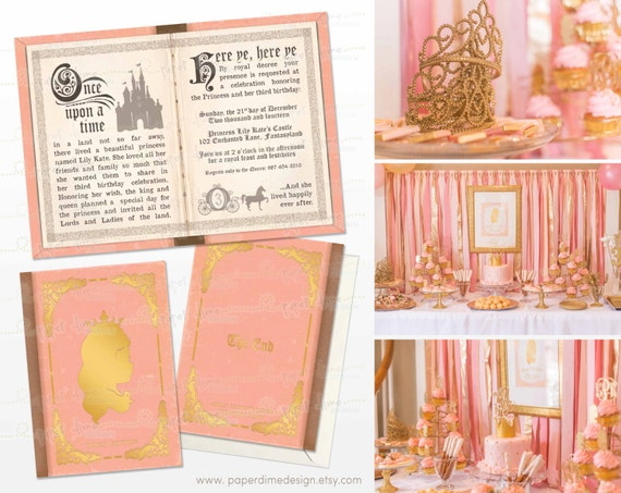 Princess Birthday Invitation Storybook Pink and gold Once upon a time silhouette girl baby shower personalized custom