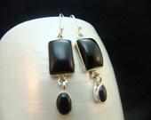 Black Onyx Drop Earrings, Bezel Set Contemporary Gemstone Sterling Silver Earrings