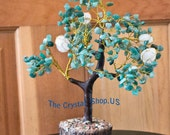 Green Aventurine and Rose Quartz Tree 8 1/2 inches tall! Great for Valentines!