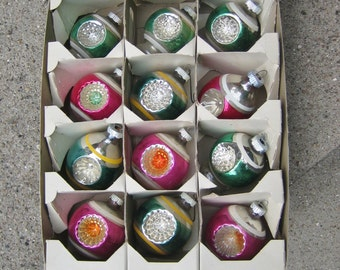 12 Vintage Christmas Ornaments Shiny Brite Double INDENT Unique Shapes Green and Pink