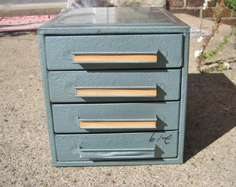 Vintage Chest 4 Drawer Metal Chest Industrial