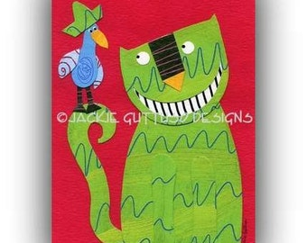 "Cat art collage, Giclee cat print 5 x 7"", Whimsical cat, Cat painting print, Cat lover gift, Acrylic animal, Whimsical bird, Sombrero art"