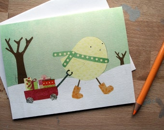 CARD: Little Miss Gift-Giver - Blank Card, Holidays, Winter, Christmas, Season's Greetings