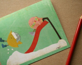 CARD: Two Birds Playing on a Red Slide in the Snow - Blank Card