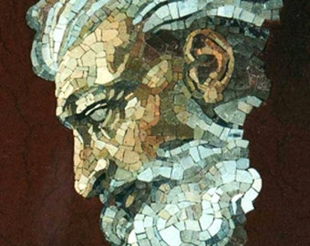 Face in Modern mosaic of the Last Judgment by Michelangelo