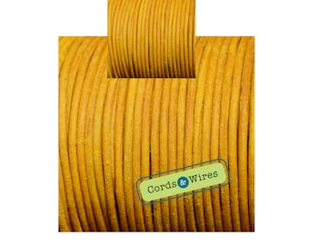 CW03271 Yellow - 1 meter x 3mm Dyed Coulour Round Leather Cord