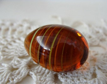 Wee Little Amber Glass Egg Green & Orange Striped