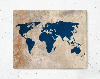 Rustic World Map Canvas Art Print - World Map Canvas Print - Stretched Gallery Wrapped Canvas Wall Art - SKU: 010C-N