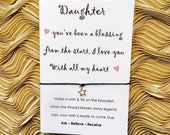 Daughter love card - Card with Star Wish String Charm friendship bracelet WC38