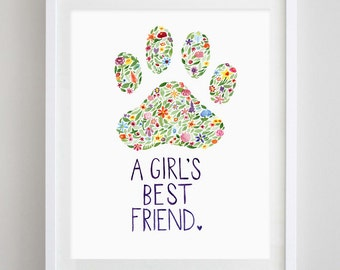 Paw Print Floral Watercolor Art Print for Dog Lovers