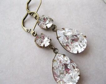 Crystal Teardrop Earrings, Old Hollywood Glam, Vintage Style Bridal Earrings, Rhinestone Drop, Swarovski Elements, Wedding Jewellery