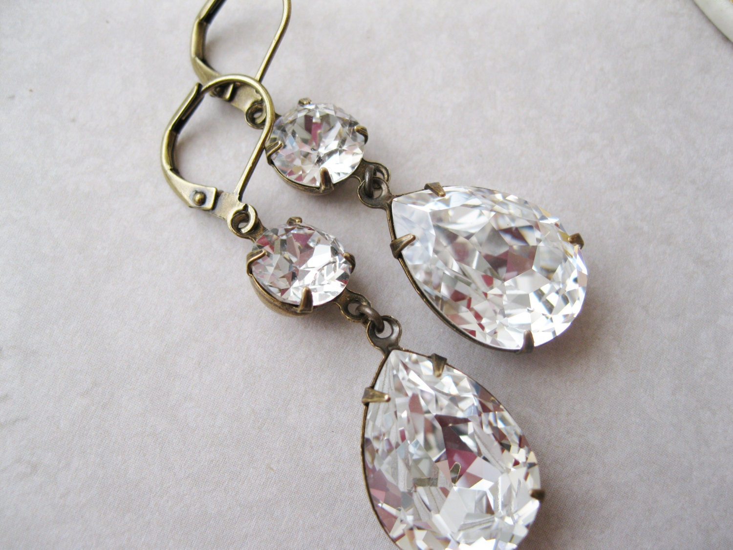 Crystal Teardrop Earrings Old Hollywood Glam Vintage Style