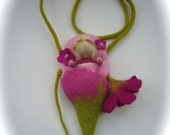 Cradle bag,Cradle purse with doll .Fairy Bag. Hand-felted.Waldorf.