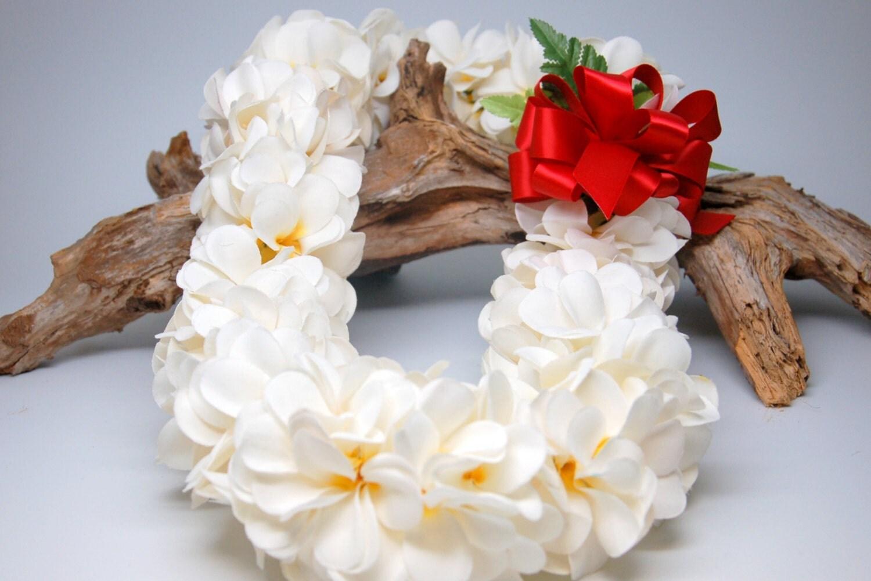 Silk Plumeria Flower Lei with Red Bow Graduation Wedding