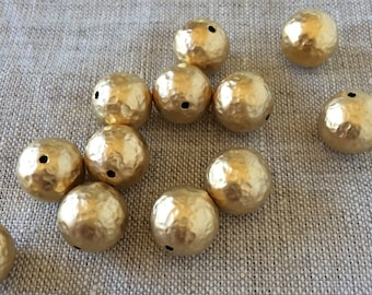 22K Gold Plated Brass Bead, Hammered Gold Beads, 12mm, 4pcs