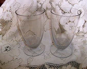 2 Duncan & Miller Teardrop Party Tumblers Footed Crystal