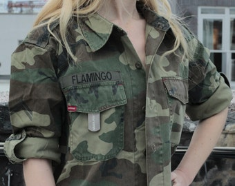Army Jacket Fatigue Shirt with Custom Nametag
