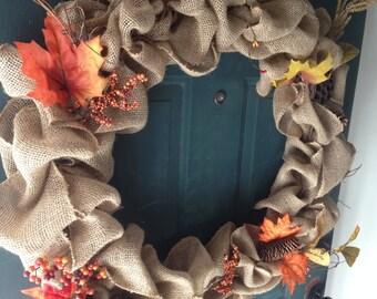 Rustic Fall Burlap Wreath