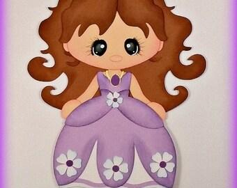 Elite4u Mindy Princess Sophia  Premade paper piecing for scrapbook page embellishment