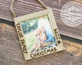 Family Personalized Wood Ornament Engraved Rustic Christmas GIFT Photo Holder