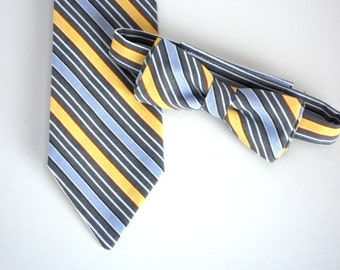 Yellow and gray tie, ring bearer outfit, boys wedding outfit, boys tie, toddler neck tie, baby boy bow tie, little boy tie, kids ties