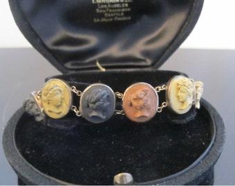 Antique Victorian Lava Cameo Bracelet in 10k Gold