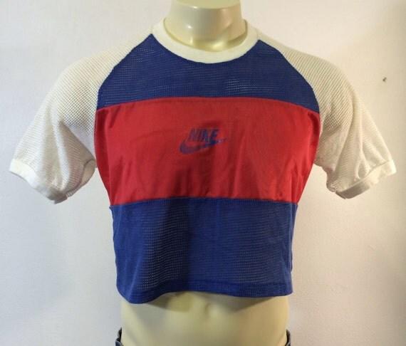 nike crop top 80 39 s vintage shirt original mesh red white. Black Bedroom Furniture Sets. Home Design Ideas