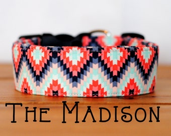 "Girly Aztec Inspired Grey Coral & Charcoal Geometric Collar Dog Collar ""The Madison"""