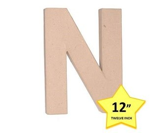 Paper Mache Cardboard Letters 12 Inch - Letter N - Paper Craft Party Decor Supplies
