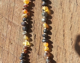 Deacon, Baby Teething Necklace, Green & Cherry Amber
