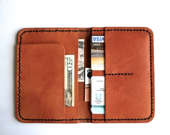 Leather Passport Cover - Passport Holder - Bifold Wallet Travel Gift for Him or Her - Personalize with Initials Name - Mens Leather Wallet