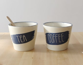 Big coffee and tea cup set Blue unisex coffee and tea cups Blue letters and rim Cozy coffee cups - Ready to ship
