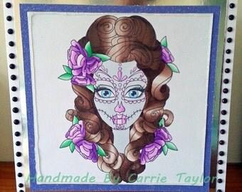 """Handmade 8""""x 8"""" Sassy Sugar Skull Birthday/Celerbration Card"""
